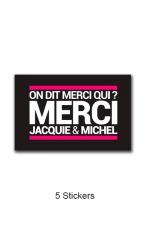 Pack 5 stickers J&M n°4 - Pack de 5 Stickers noirs Jacquie & Michel  (dimensions 5 x 3.3 cm) à coller où vous voulez.