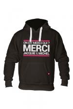 Sweat à capuche J&M Classique : Sweat-shirt à capuche noir avec logo rectangle on dit merci qui de Jacquie et Michel sur le devant.