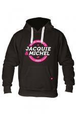 Sweat à capuche J&M Classique 2 - Sweat-shirt à capuche noir avec logo rond on dit merci qui de Jacquie et Michel sur le devant.
