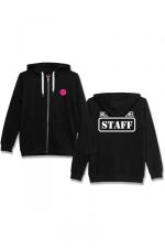 Veste à capuche J&M Staff noir - Veste à capuche noire J&M avec logo JACQUIE & MICHEL STAFF dans le dos et petit logo J&M sur le devant.