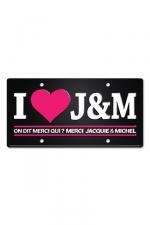 Plaque métal I love J&M - Plaque de porte haute qualité en métal, dimensions 20 x 30 cm, avec message I love Jacquie & Michel.