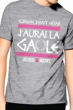 Tee-Shirt J&M j'aurai la Gaule - gris - Comme disait César, j'aurai la Gaule, un T-shirt de la collection officielle Jacquie & Michel. Coloris gris.