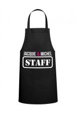 Tablier J&M - STAFF : Tablier Jacquie & Michel STAFF pour pimenter vos réceptions entre amis.