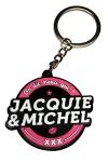 Porte-clés J&M logo rond - Porte-clés Jacquie & Michel, forme ronde, et son slogan incontournable On dit merci qui ? Merci Jacquie & Michel.