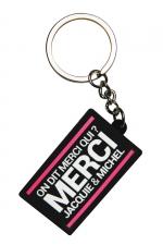 Porte-clés J&M logo rectangulaire - Porte-clés Jacquie & Michel, format rectangulaire, et son slogan incontournable  On dit merci qui ? Merci Jacquie & Michel .
