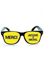 Lunettes noir jaune - Jacquie & Michel - Lunettes promotionnelles à l'effigie de Jacquie et Michel, le site de sexe amateur incontournable. Monture noire et verres jaune.