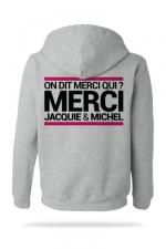 Sweat-shirt Capuche J&M gris - A la demande générale, voici le sweat à capuche J&M pour compléter votre tenue de fan (modèle gris clair).