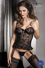Guêpière Hana - Noir : Guêpière sensuelle sans armatures avec son string, en tulle à motifs velours et uni.