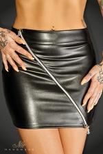 Mini jupe Ruler - Mini jupe moulante faux cuir barrée d'un double zip argenté en diagonale aux tirettes N décoratives au monogramme de la marque.