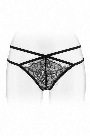 String ouvert Mylene - noir - String coquin noir en dentelle et ornements croisés, ouvert entre les cuisses, par Fashion Secret.