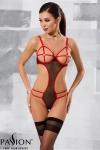 Body Hera - Noir - Body en fine résille noire et sangles élastiques rouges, absolument sexy.