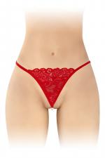String avec perles Venusina - rouge - String rouge ouvert, sensuel et coquin, avec perles nacrées stimulantes à l'entre-jambes, par Fashion Secret.