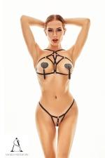 Harnais lingerie Xantho - Angels Never Sin - Ensemble deux pièces top seins nus et culotte ouverte très sexy avec son style harnais totalement nu.