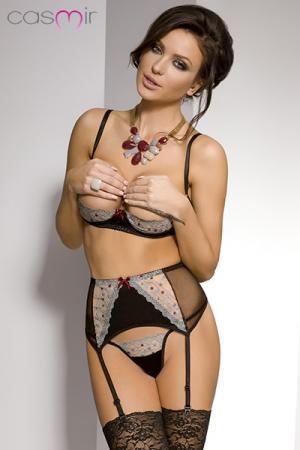 Ensemble coquin Marica : Ensemble de lingerie coquine : soutien gorge seins-nus, porte-jarretelles et string assortis.