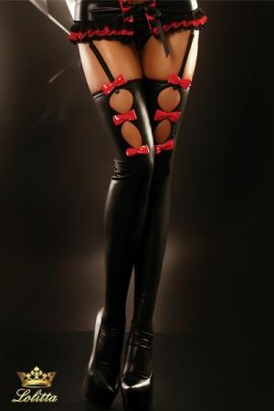 Flame - Bas vinyle fantaisie - Bas en vinyle noir brillant, décorés de petits noeuds rouge aguicheurs.