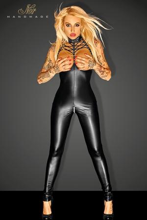 Combinaison Swagger - Combinaison seins nus au décolleté lacé très fetish, avec un zip argent à l'entre-jambes.