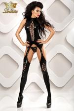 Horny - Combinaison ouverte fetish - Combinaison ouverte à l'entre-jambes en wetlook, et son string assorti.