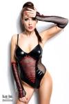 Body Evelyne - Black Rose - Body sexy en voile et wetlook, avec ses mitaines longues.