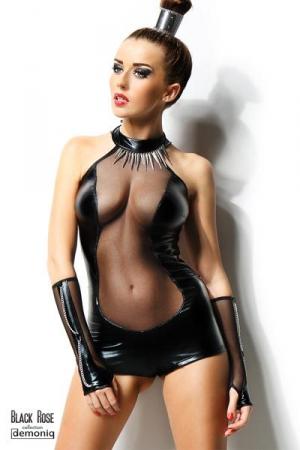 Combishort Isabelle et gants - Black Rose : Un combishort extrêmement sexy qui sculpte la silhouette de noir brillant et de transparence provocante, avec les gants assortis.