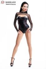 Body Aimi : Body fantaisie en wetlook noir bordé de rouge, et manches en fine résille, collection Shibari, par Demoniq.