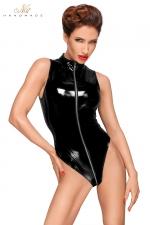 Body vinyle avec zip intégral F191 : Body sans manches en vinyle avec triple zip intégral.