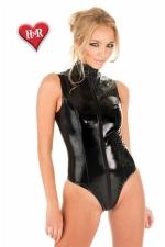 Body Sleeveless vinyle - Jouez du fouet dans ce body sexy sans manches en magnifique vinyle noir.