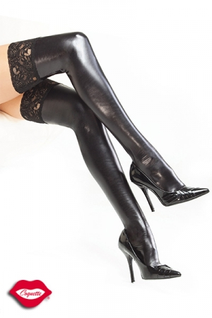 Bas dentelle Darque : Bas dentelle wetlook autofixants, l'esprit fetish-glamour habille vos jambes.