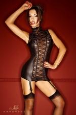 Guêpière Bad Lupa - Une guêpière somptueuse en dentelle et wetlook mat, qui vous sculpte étroitement grâce à ses tiges corset.