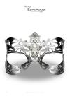 Masque Royal - Faire Hommage - Un superbe loup vénitien en cuir ciselé et teinté couleur argent, orné de pierres de Swarovski.