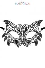 Loup broderie souple Nuit - Loup noir en dentelle brodée souple, de style rétro, pour vos soirées déguisées ou coquines, par Maskarade.