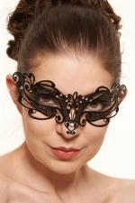 Masque vénitien Feel 4 - Ce masque vénitien en métal noir décoré de strass pose un bandeau mystérieux sur votre regard.