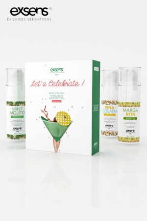 Coffret Let's Celebrate - Exsens - Offrez un cocktail de plaisir à votre partenaire avec ce coffret Exsens de 3 huiles gourmandes et chauffantes.