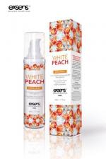Huile de massage BIO Exsens - peche blanche : Huile de massage Exsens White Peach, chauffante et gourmande, BIO, à la pêche blanche. Flacon de 50 ml.