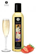 Huile de massage érotique - Vin pétillant à la fraise - Huile de massage érotique Romanceau vin pétillant et à la fraise pour éveiller les sens et la réceptivité amoureuse, par Shunga.