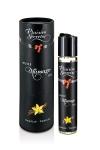 Huile de massage gourmande - Vanille - Huile de massage comestible avec goût vanille exquis, par Plaisirs Secrets.