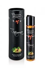 Huile de massage gourmande - Fruits Exotiques : Huile de massage comestible avec goût fruits exotiques exquis, par Plaisirs Secrets.