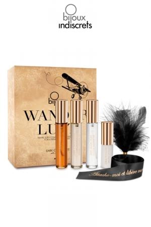 Coffret Wanderlust chocolat noir - Coffret de voyage avec cosm�tiques format mini et accessoires �rotiques pour amants.