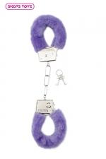 Menottes fourrure Shots - violet - Paire de menottes fantaisie qui ferment comme des vraies pour jouer à s'attacher. En métal et fausse fourrure violette.