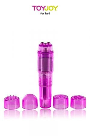 Pocket Rocket ToyJoy : Mini stimulateur de clitoris avec 5 embouts pour varier les plaisirs.