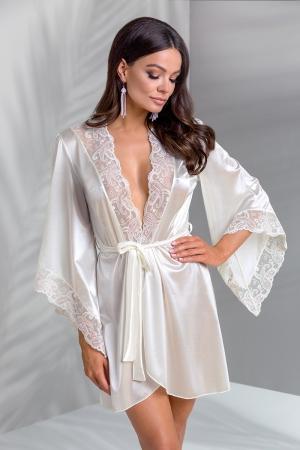 Déshabillé Inoe - Peignoir lingerie avec ceinture écru satiné, bordé de tulle brodé de motifs cachemire blanc et vieux rose.