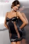 Nuisette Alexia - Nuisette élégante à balconnets bordée de dentelle, deux bandes de résille sensuelle laissent deviner votre corps en transparence.