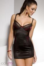 Nuisette Diona - Robe nuisette moulante noire, éclairée d'empiècements rouge sombre recouverts de dentelle. Une féminité simplement raffinée.
