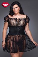 Nuisette Fancy - grande taille : Nuisette romantique en dentelle avec une large ceinture corset Queen size, elle sublime la sensualité des rondes.