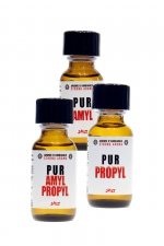 Pack Pur JOLT 3 poppers - Pack JOLT PUR contenant : 1 poppers PUR Amyl 25ml + 1 poppers PUR Propyl 25ml + 1 poppers Amyl & Propyl 25 ml.