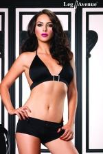 Short et Top Dancing - Ensemble clubwear short court et top bikini, avec boucle et détails strass.