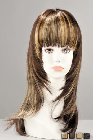 Perruque Kate : Perruque mi-longue effil�e en cheveux synth�tiques r�alistes. Une m�tamorphose pleine de f�minit�.