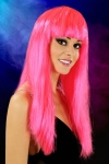 Perruque cheveux longs Fuchsia - Perruque fantaisie avec cheveux longs couleur Fuchsia.