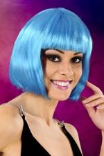 Perruque cheveux courts bleu : Perruque fantaisie avec cheveux courts couleur bleu, marque Cabaret Wigs.