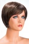 Perruque Daisy châtain - Perruque châtain aux cheveux courts en carré moderne à la nuque dégradée.
