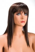 Perruque Allison châtain - Perruque châtain longue et à frange effilée pour changer de look.